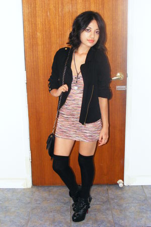 Forever New dress - black Dotti jacket - black Siren boots - black Sportsgirl -