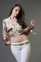 white Bershka jeans - nude vale Zara blouse