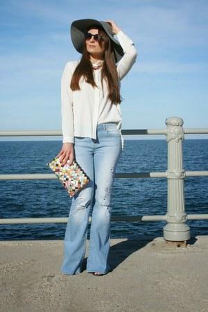 heather gray Agaci top - blue Kotton jeans - white Stradivarius blouse