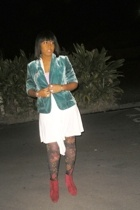 blazer - dress - top - tights - boots
