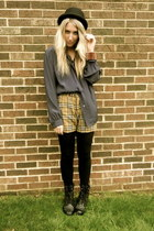 black Forever21 boots - black Forever21 hat - brown plaid Dolce and Gabbana shor