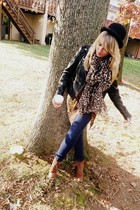 navy Forever21 jeans - black Forever21 jacket - dark brown H&M scarf - tawny thr