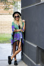 Black-creepers-tuk-shoes-black-buxton-hat-blue-kimono-reverse-blouse