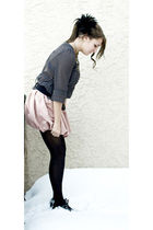 black HUE tights - pink Forever 21 skirt - gray Wet Seal shirt