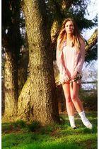 pink dress - pink blouse - white socks