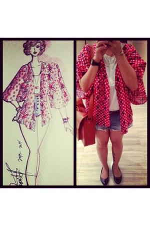 blue DIY shorts - Payless shoes - red DIY blouse - Zara bodysuit