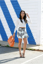 black neoprene skater Zara skirt - carrot orange Michael Kors purse