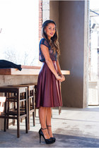 navy free people blouse - crimson Solemio skirt - black Steve Madden heels