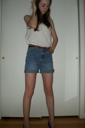 white Old Navy shirt - blue diys shorts - red vintage belt - purple vintage shoe