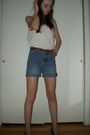 White-old-navy-shirt-blue-diys-shorts-red-vintage-belt-purple-vintage-shoe