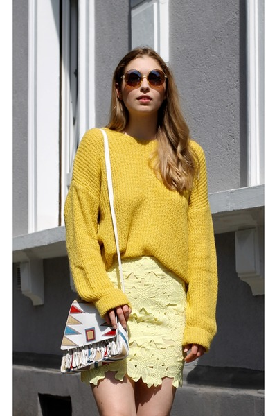 yellow knitted asos sweater - yellow ruffle asos sandals