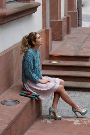 light pink H&M skirt - light blue knitted H&M jumper
