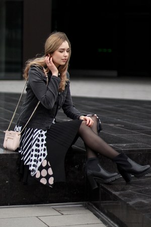 black black Another A boots - black polka dot rinascemento dress