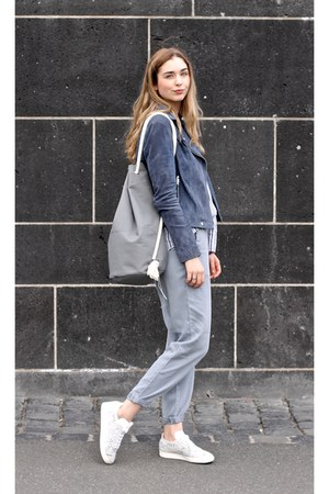 blue popcph jacket - heather gray Clara Himmel bag - white Esprit blouse