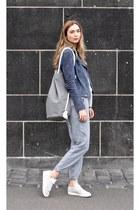 blue popcph jacket - heather gray Clara Himmel bag - white Esprit blouse