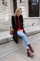 red blouse - shiny boots - embroidered coat - boyfriend jeans jeans