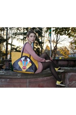 colorful liebeskind bag - brown tights - pink jumper - pink skirt - sandals