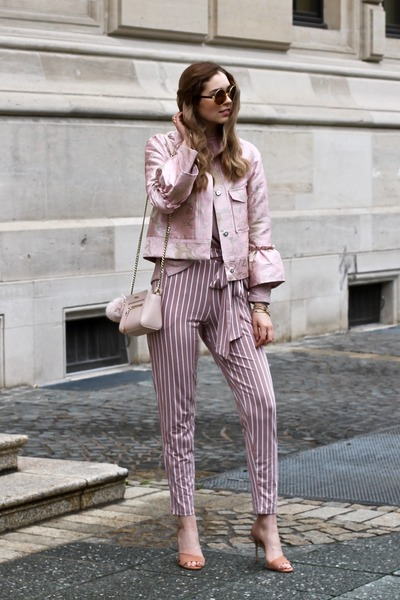 light pink asos coat - light pink Furla bag - neutral Buffalo heels
