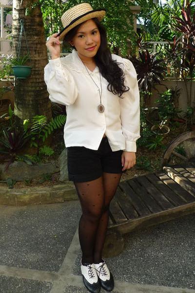 Ukay Manila blouse - Promod shorts - Shoeology shoes - Sock and Sole hat