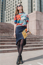 navy skirt - black sunglasses - orange top
