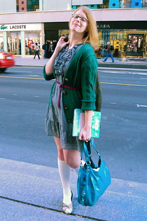 coach bag - H&M dress - H&M socks - sears shoes - Gap belt - Old Navy cardigan