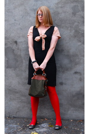 J Crew blouse - H&M dress - H&M tights - Nine West shorts - Laura Mosolo bag