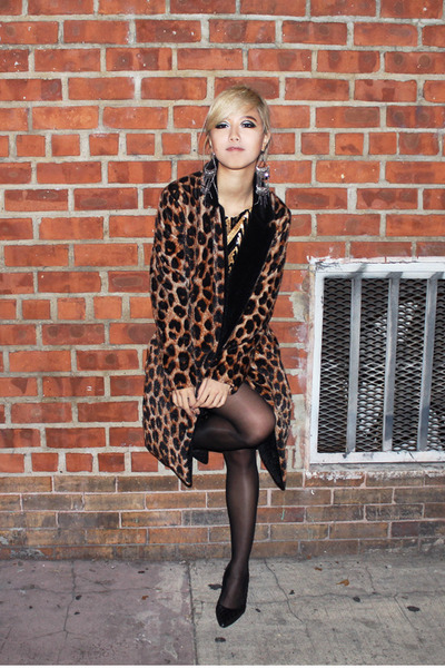 gold sequins Ark&Co dress - brown leopard Pixie Market coat