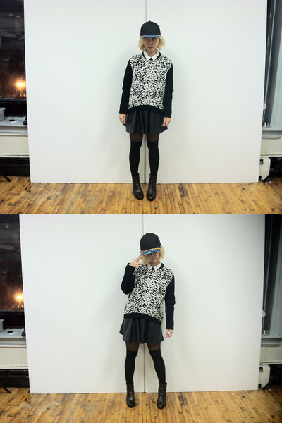 black Pixie Market boots - black Topman hat - black leopard Pixie Market sweater