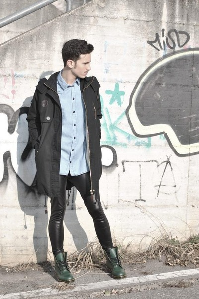 parka 5Preview jacket - black Kontatto leggings - light blue denim Topshop shirt