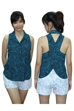 rayon print Davina shirt - denim print Davina shorts