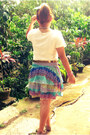 Colorful-never-been-kissed-skirt-cotton-vintage-t-shirt-gold-metro-belt