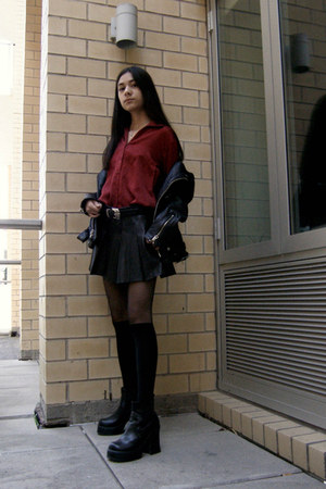 black leather Schott jacket - black Soda boots - ruby red vintage top