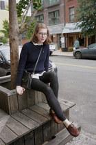 coach bag - Gap jeans - navy cable-knit Ralph Lauren sweater