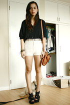 cotton on bag - vintage shorts - Bazaar blouse - Shop Like Amanda wedges - H&M b