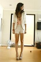 Forever 21 heels - SM blazer - Pink Manila shirt - SM accessories