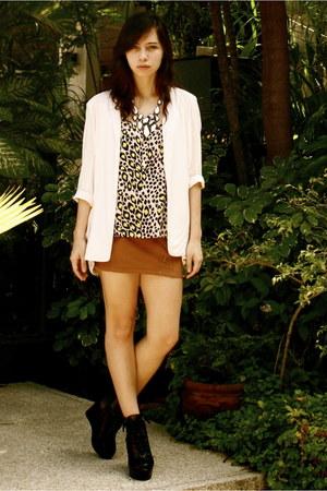 cotton on blazer - H&M blouse - H&M skirt - Shop Like Amanda wedges - Forever 21