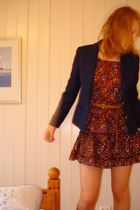 blazer - dress - belt - shoes