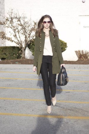 military Steve Madden jacket - neutral tee Lucky Brand shirt - Ralph Lauren bag