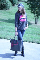 leather coach bag - calvin klein boots - American Eagle jeans - Target hat