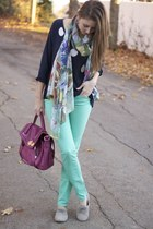 Charming Charlie scarf - TJ Maxx shoes - mint jeans American Eagle jeans