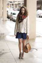 scalloped hem American Eagle sweater - taupe ankle Bjorndal boots