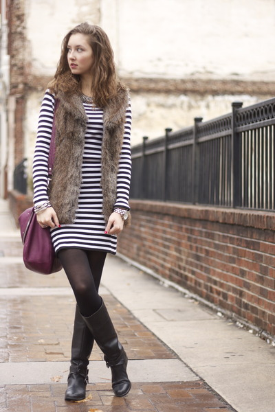 black calvin klein boots - striped sweater Wet Seal dress - black TJ Maxx tights