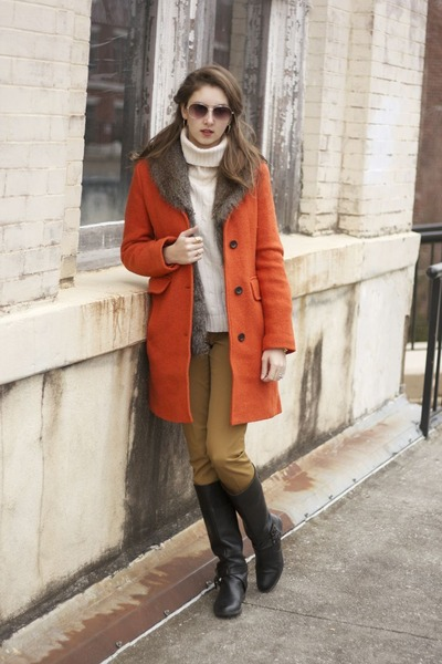 pumpkin Lands End coat - black leather calvin klein boots - Gap sweater