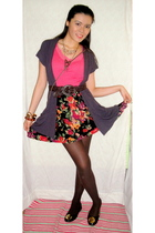 pink Ralph Lauren top - vintage skirt - brown BCBG belt - purple Charlotte Russe