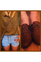 brown necklace - camel bag - sky blue shorts - olive green t-shirt