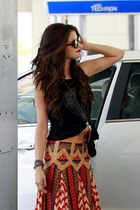 ruby red skirt - sunglasses - black top - accessories