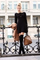 black dress - bronze bag - black socks - infinite golden necklace