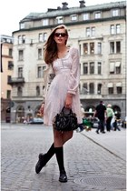 black bag - light pink dress - black socks - black sunglasses