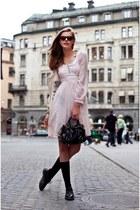 black bag - light pink dress - black socks - black sunglasses