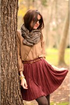brick red skirt - camel shirt - olive green scarf - sunglasses